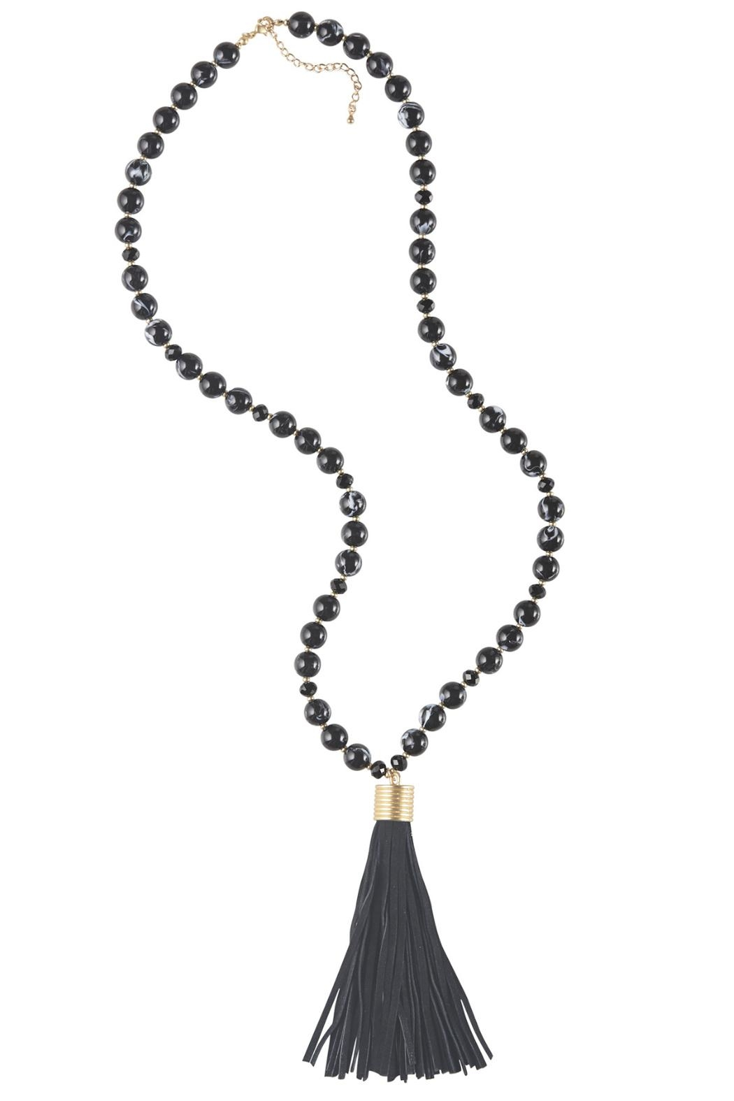 Mud Pie Suede Tassel Necklace - Front Cropped Image