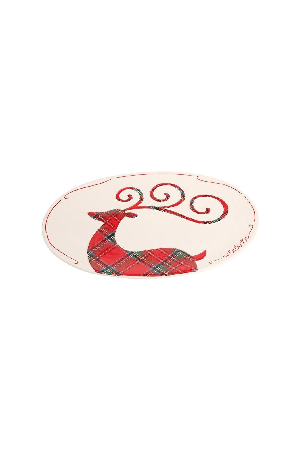 Mud Pie Tartan Deer Platter - Main Image