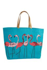 Mud Pie Beach Tote Flamingo - Front cropped