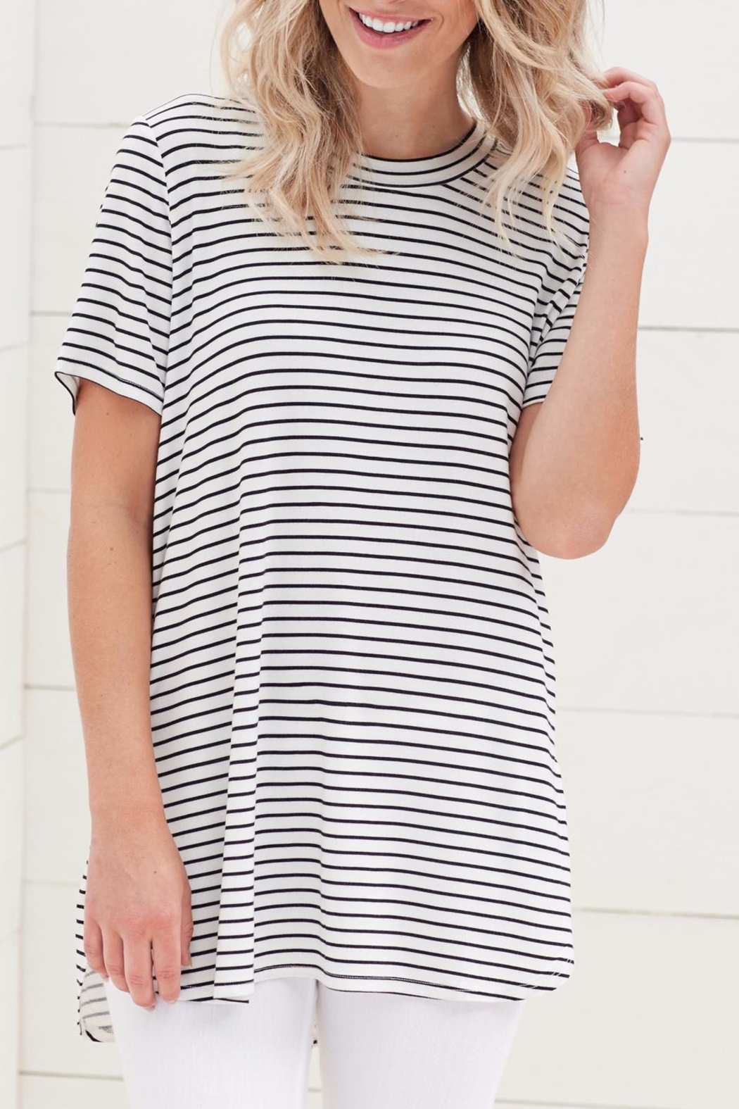 Mud Pie Tucker Jersey Tunic - Front Cropped Image