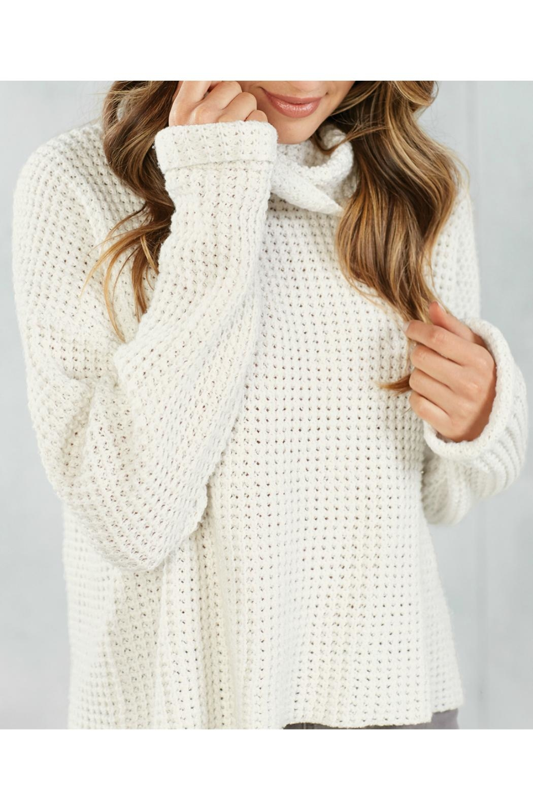 Mud Pie Waffle Knit Sweater - Front Full Image