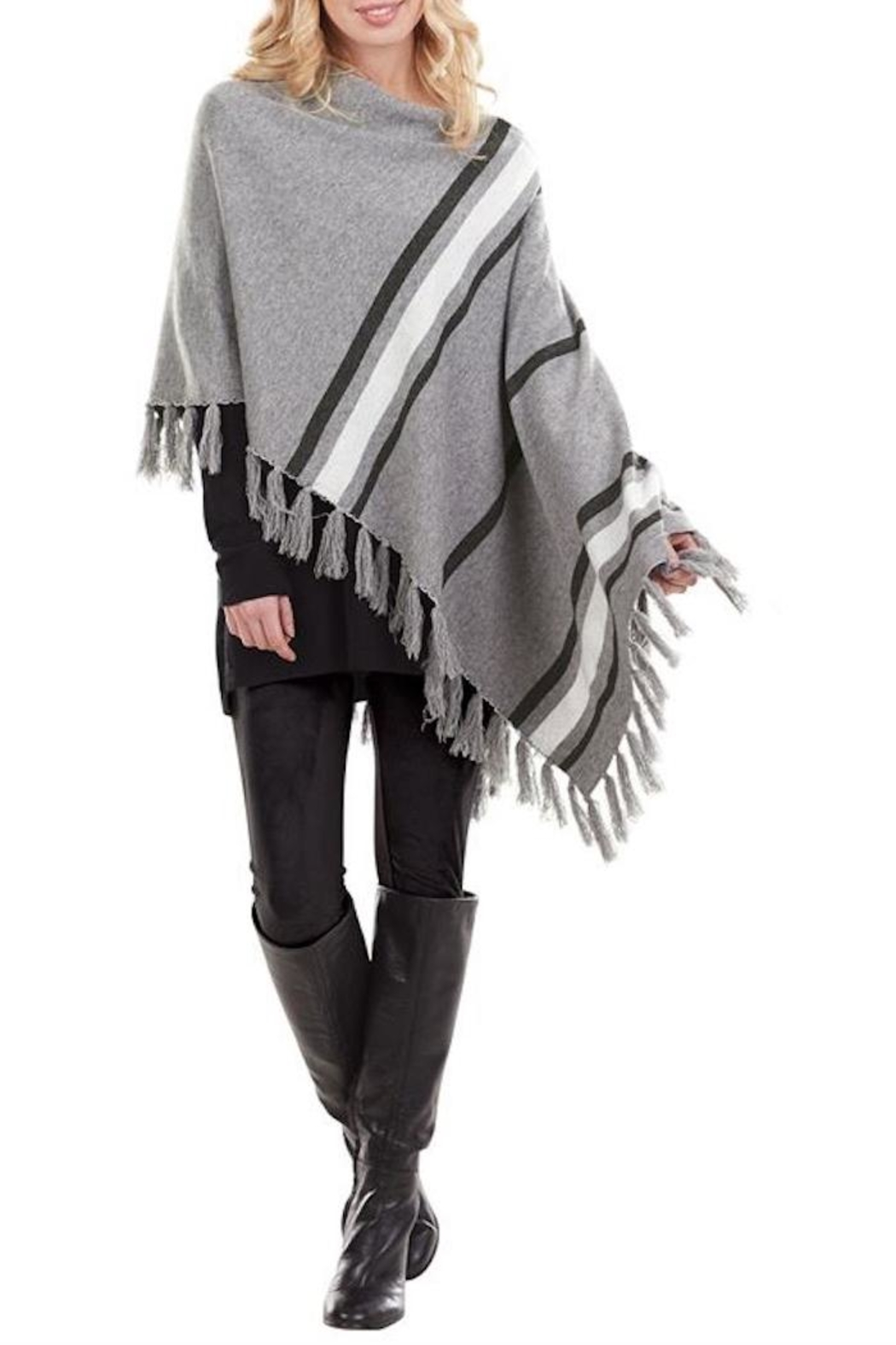 Mud Pie Westin Tassel Poncho - Back Cropped Image