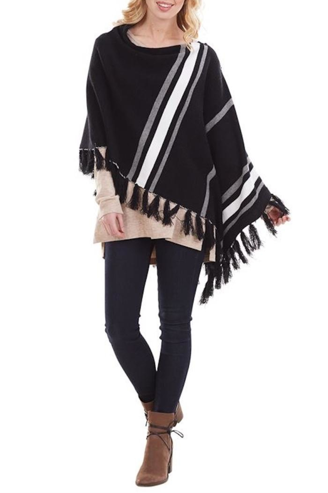 Mud Pie Westin Tassel Poncho - Front Cropped Image