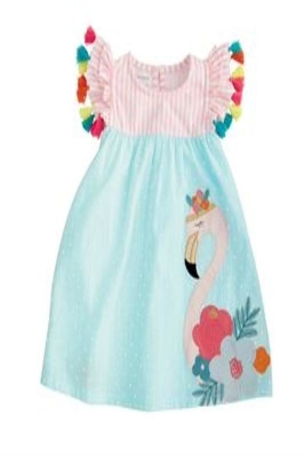 MUDPIE Flamingo Tassel Dress - Front Cropped Image