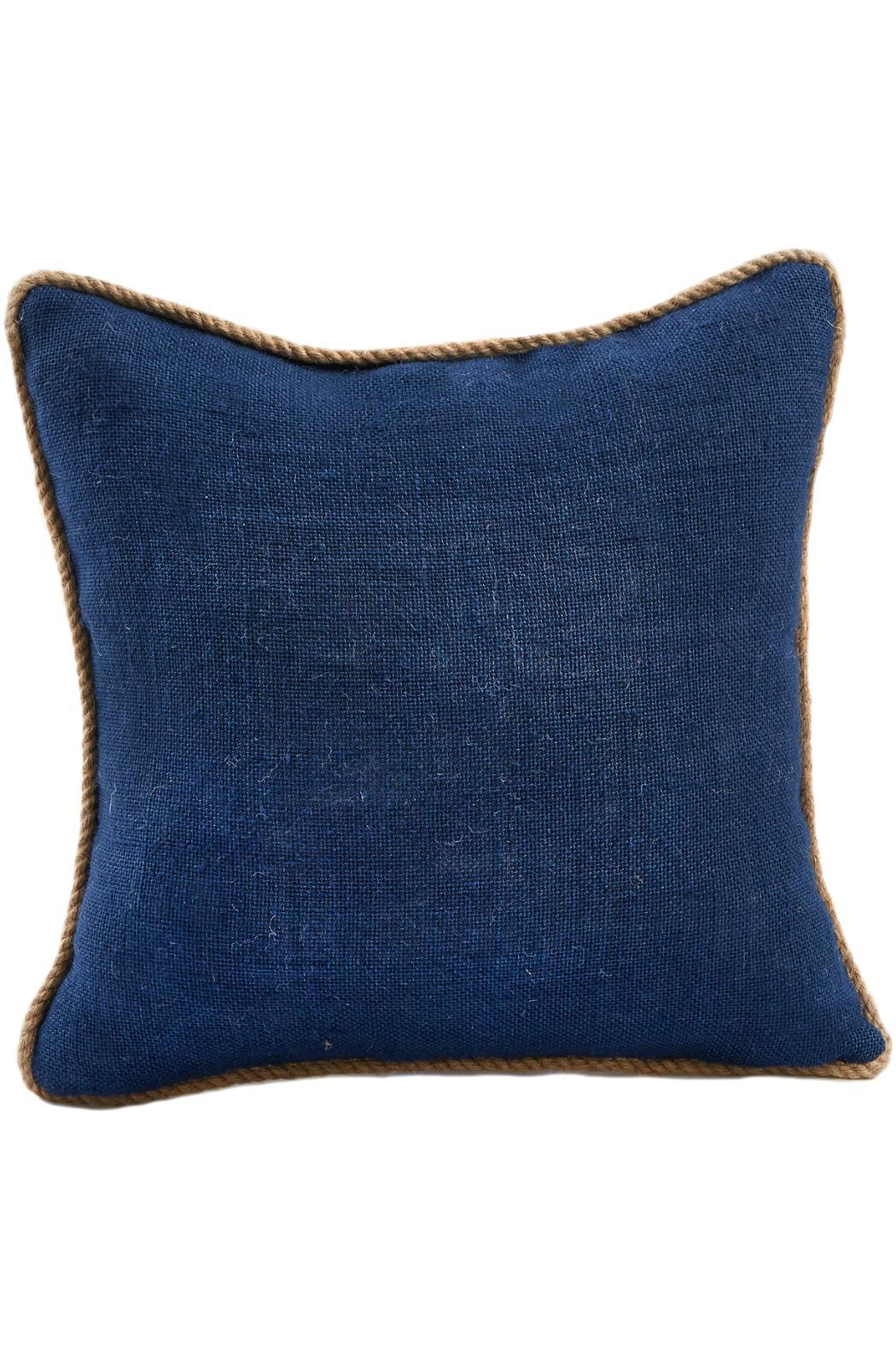 Mud Pie Navy Burlap Pillow - Front Cropped Image