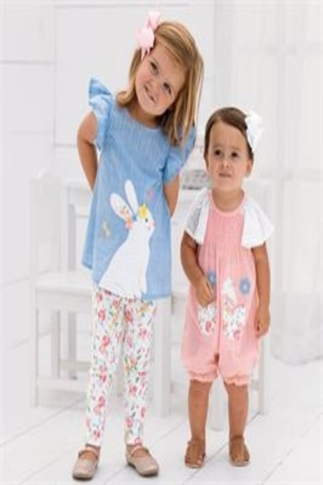 MUDPIE Smocked Bubble Bunny - Front Full Image