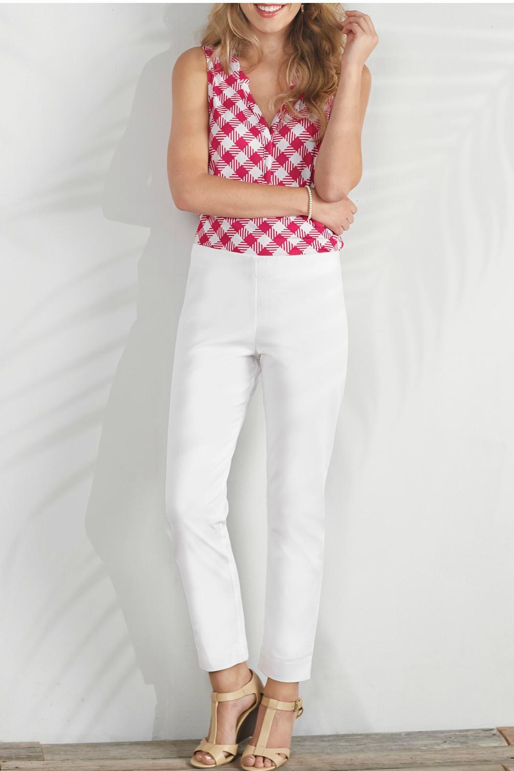 Mud Pie White Twill Pants - Front Cropped Image