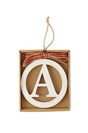 MUDPIE Wooden Initial Ornament - Front cropped