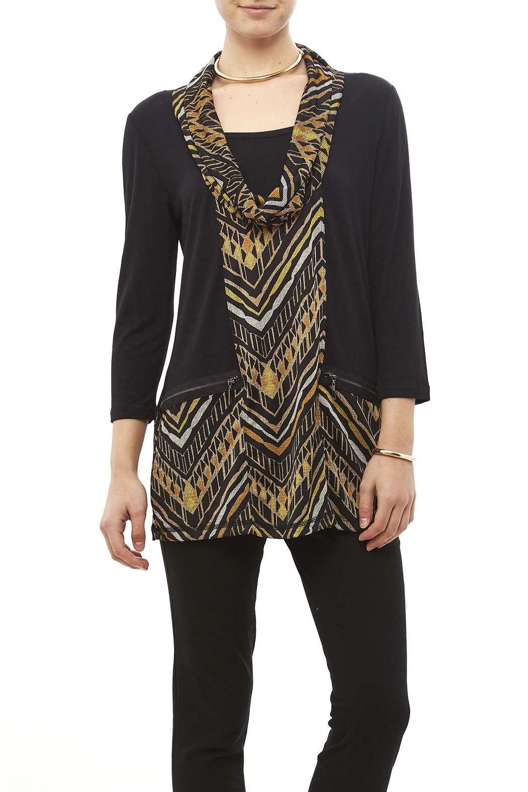 Mulitples Aztec Print Solid Tunic - Front Cropped Image