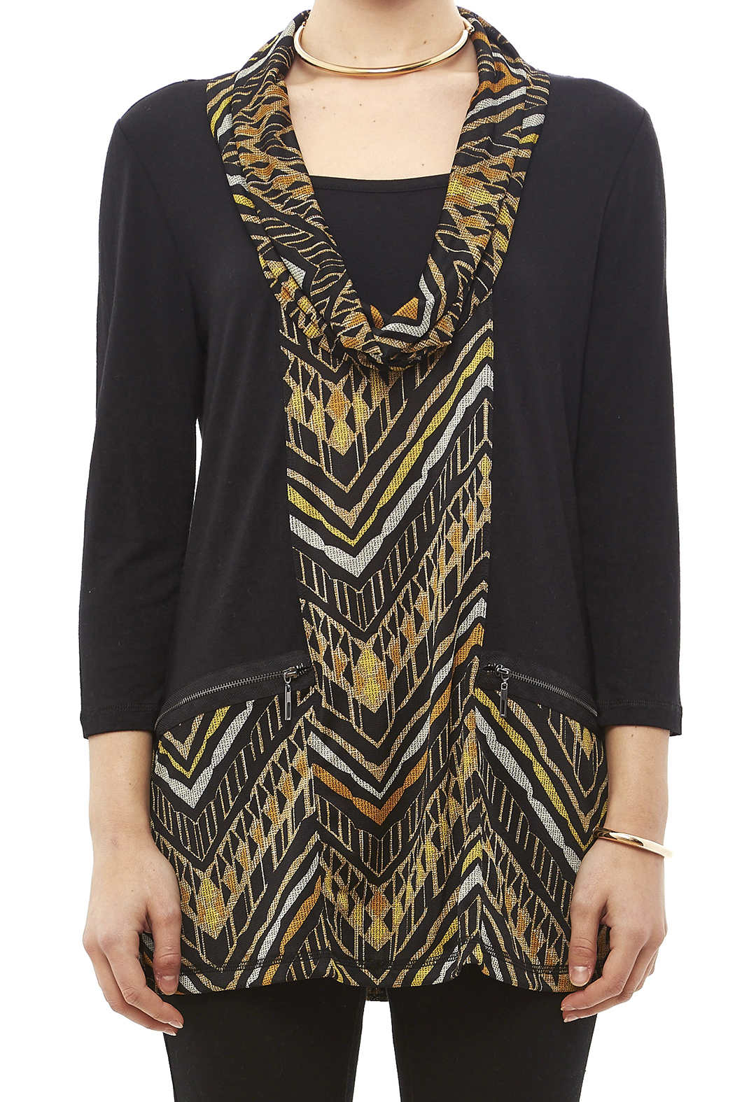 Mulitples Aztec Print Solid Tunic - Side Cropped Image