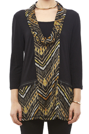 Mulitples Aztec Print Solid Tunic - Side cropped