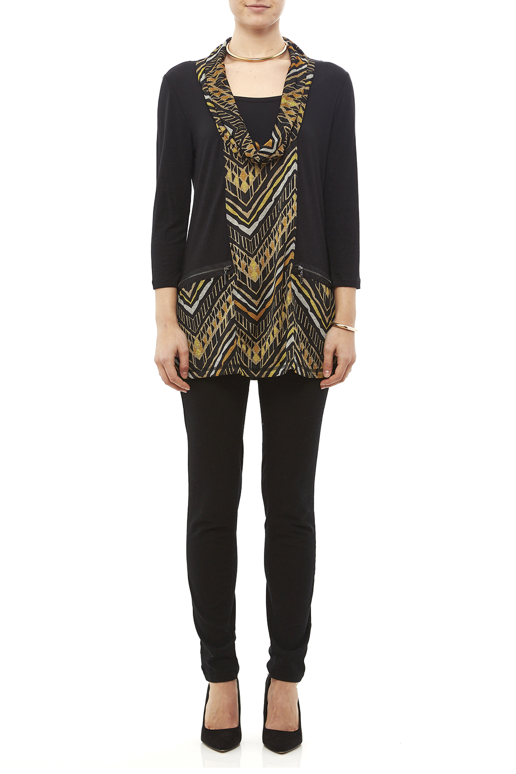 Mulitples Aztec Print Solid Tunic - Front Full Image