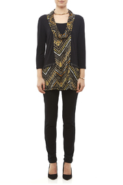 Mulitples Aztec Print Solid Tunic - Front full body
