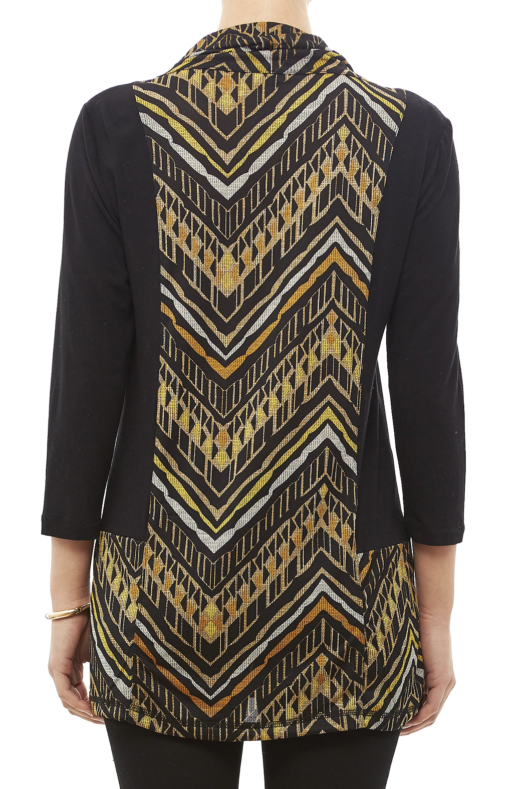 Mulitples Aztec Print Solid Tunic - Back Cropped Image
