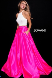 Jovani Pink and White Two Piece Gown - Product Mini Image
