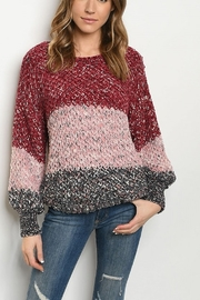 Lyn -Maree's Multi Burgundy Sweater - Front cropped