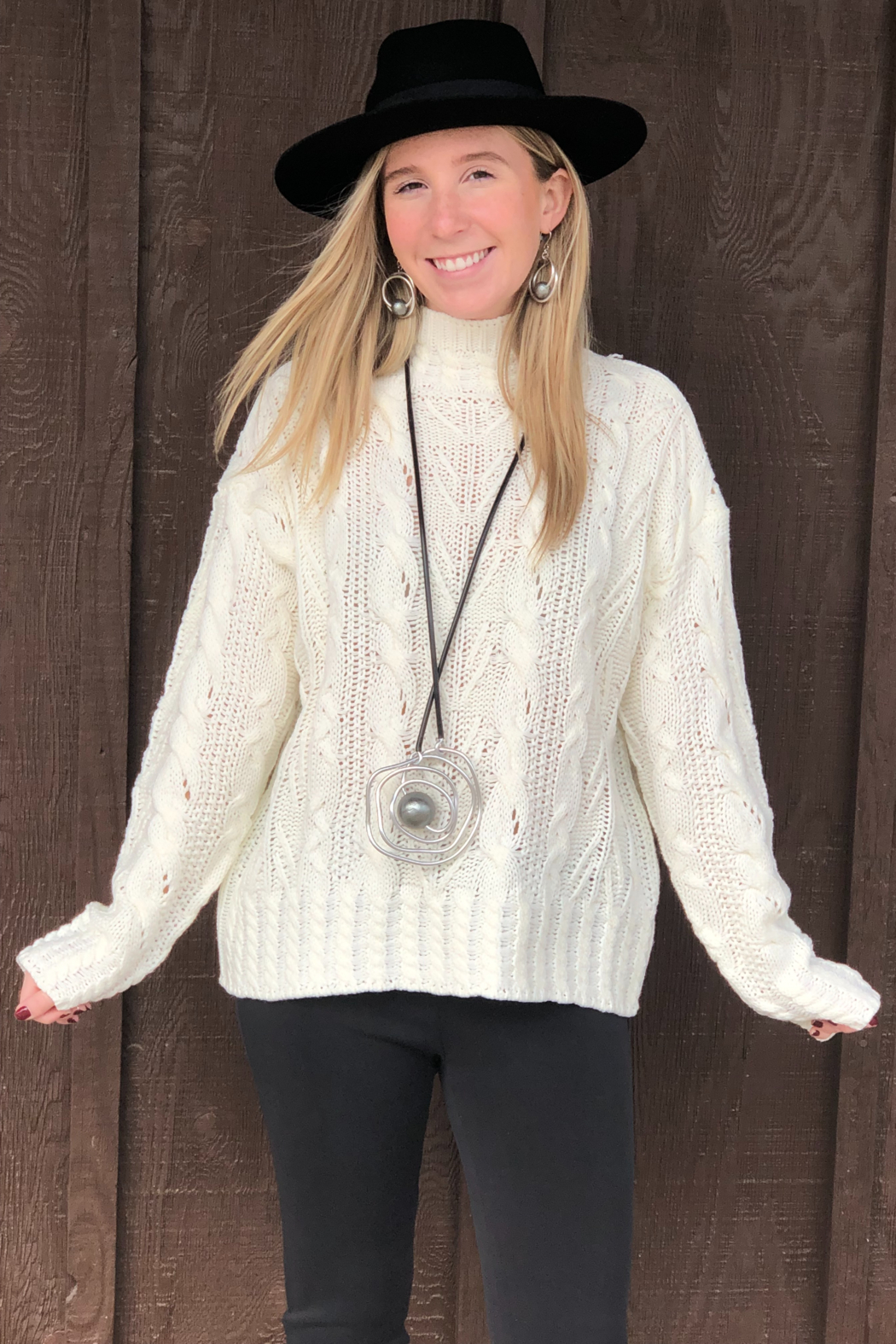 sisters Multi Cable Pattern Sweater - Main Image