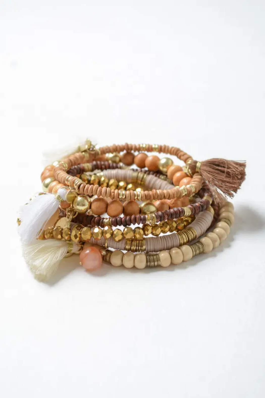 Leto Multi Charm Bohemian Stack Bracelet - Front Cropped Image