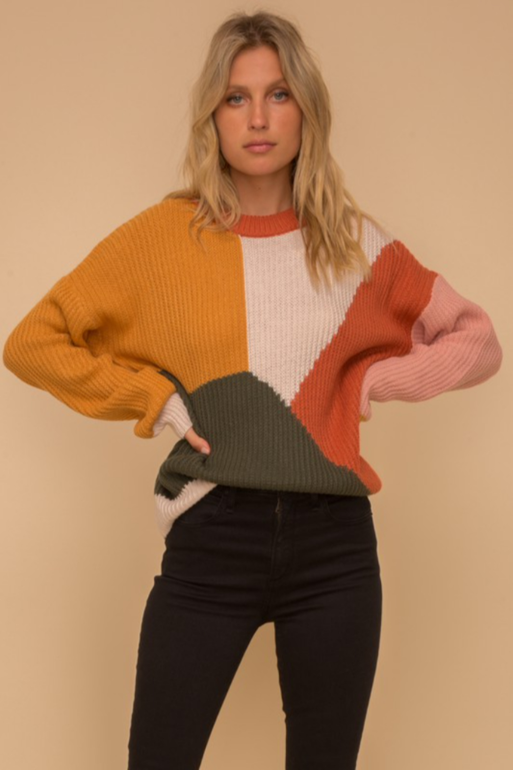 Hem & Thread Multi Color Block Crew Neck Sweater - Side Cropped Image