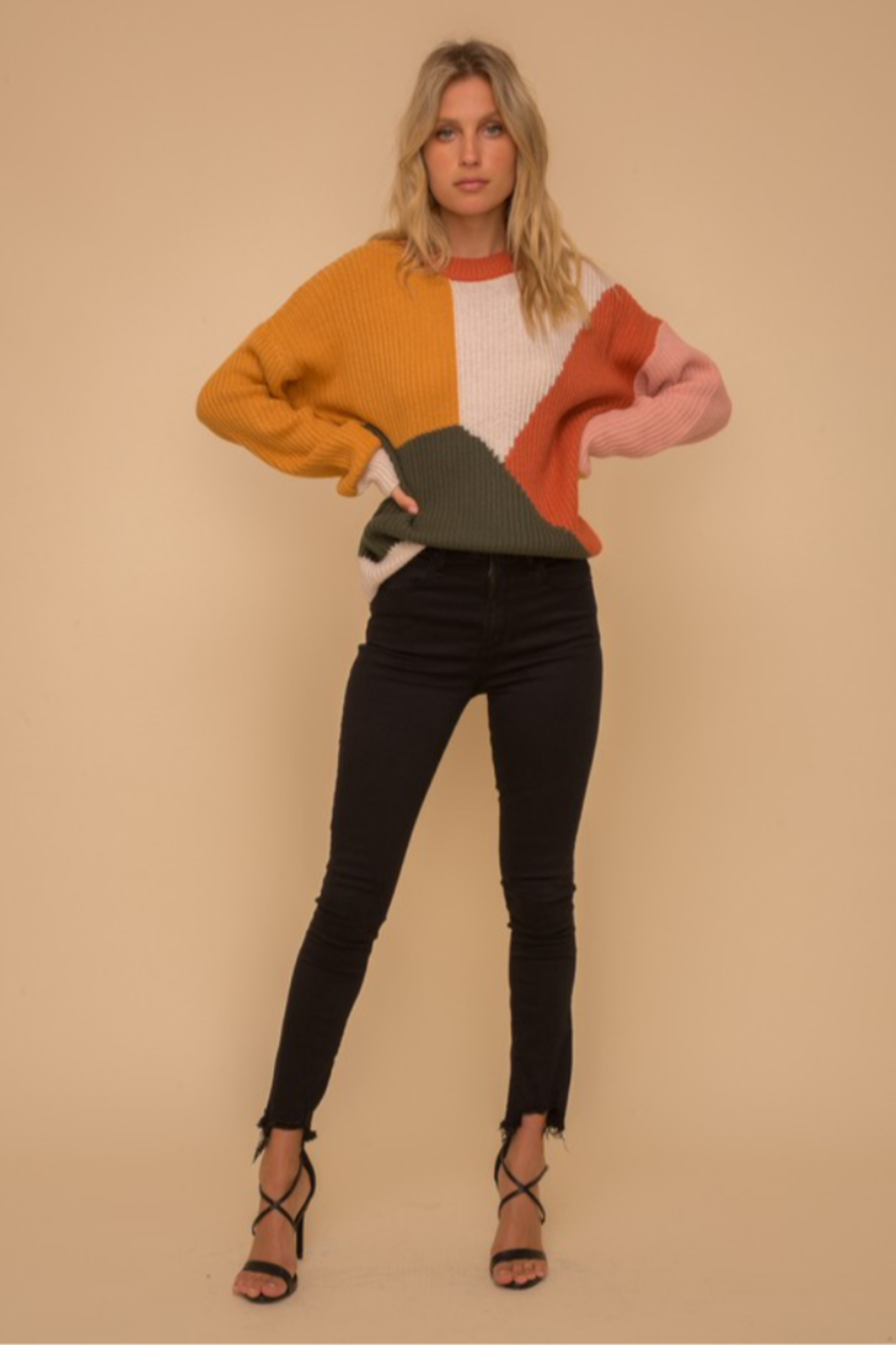 Hem & Thread Multi Color Block Crew Neck Sweater - Front Cropped Image