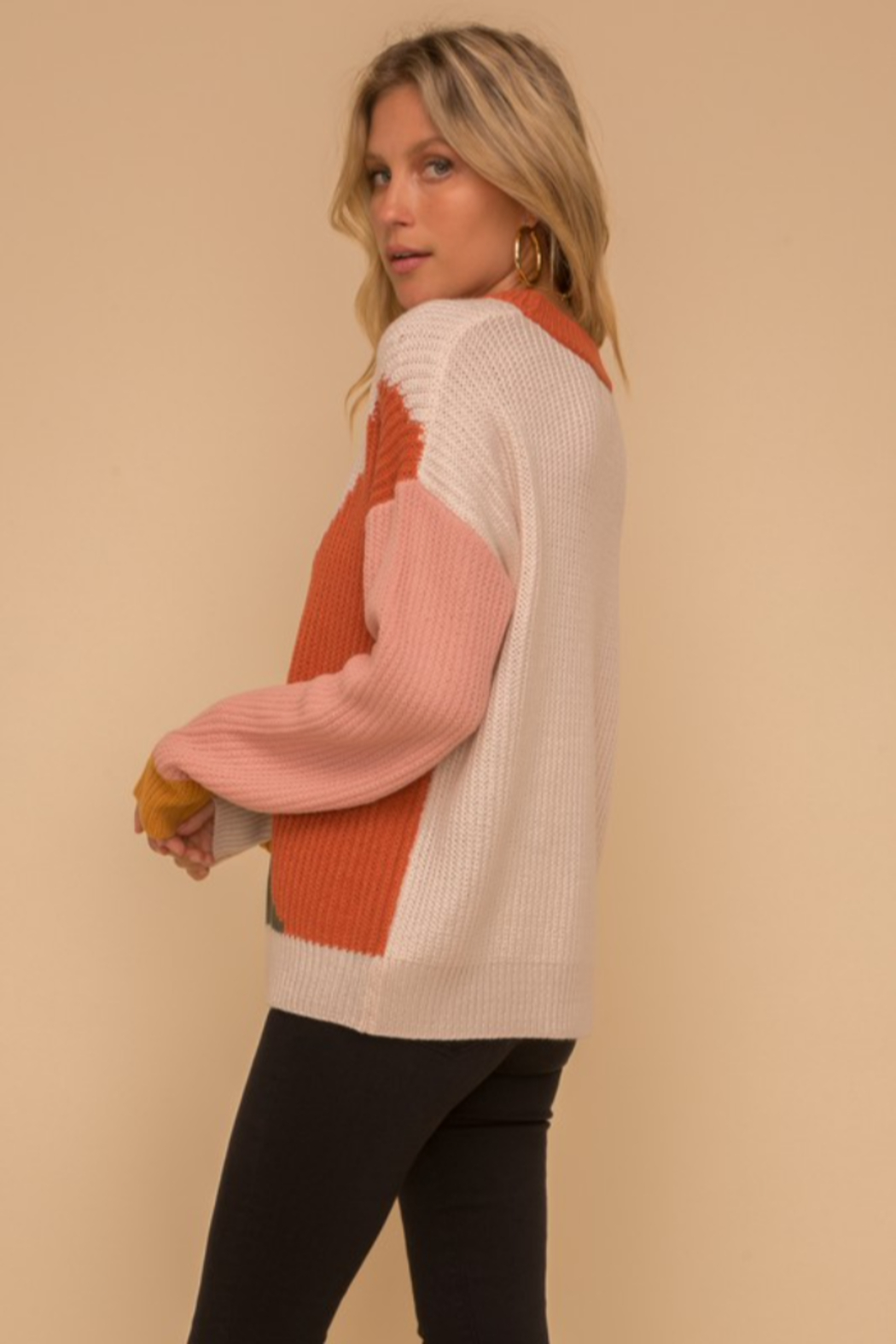 Hem & Thread Multi Color Block Crew Neck Sweater - Back Cropped Image