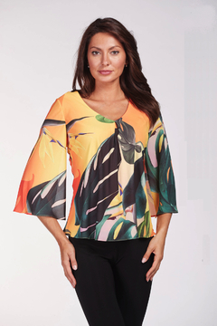 Shoptiques Product: Multi Color Floral Print 3/4 Sleeve Top