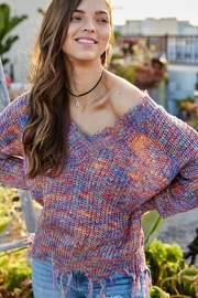 main strip  Multi Color Frayed V Neck Sweater - Front cropped
