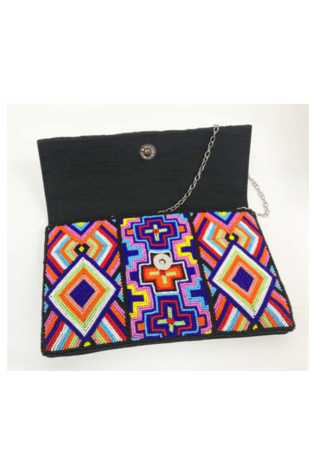Ricki Designs Multi Color Geometrical Beaded Clutch - Front Full Image