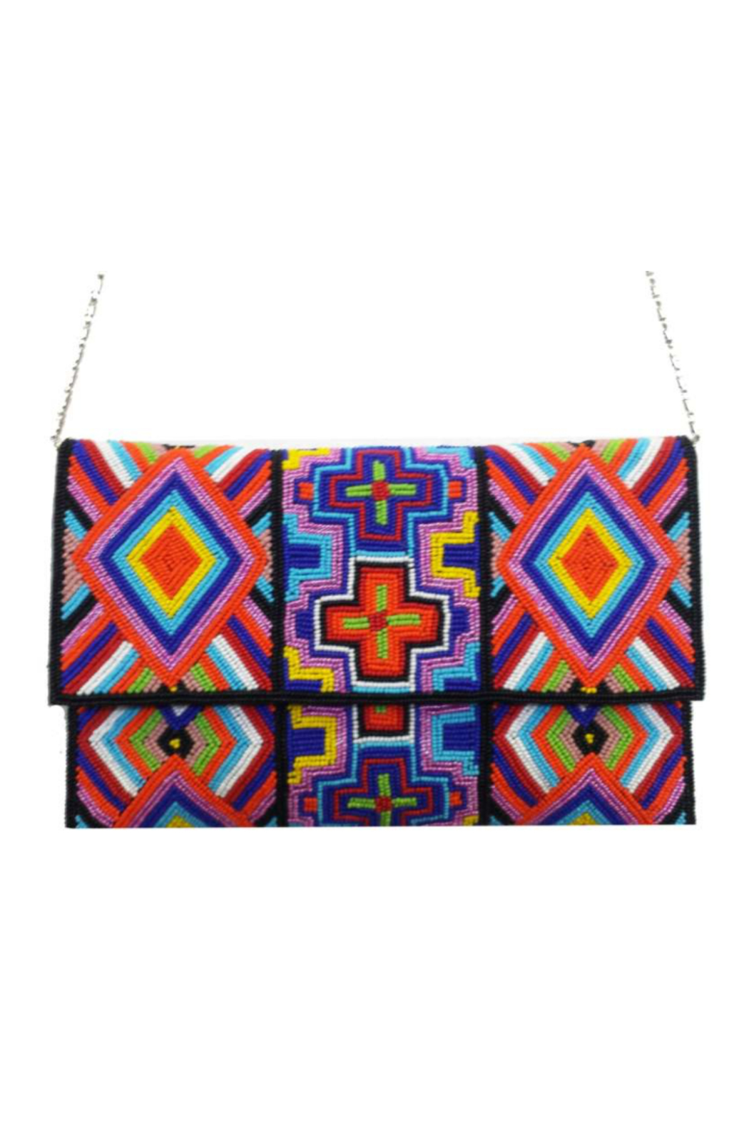 Ricki Designs Multi Color Geometrical Beaded Clutch - Front Cropped Image