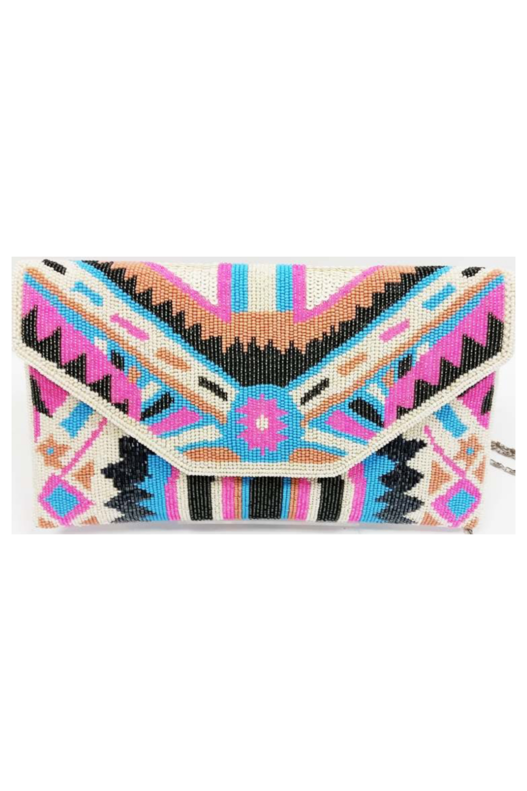 Ricki Designs Multi Color Geometrical Beaded Clutch Pink Turquoise - Main Image