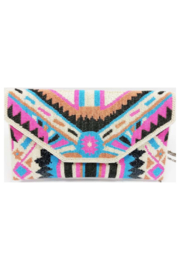 Ricki Designs Multi Color Geometrical Beaded Clutch Pink Turquoise - Product Mini Image