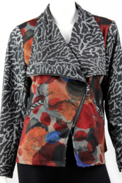 Vintage Soft multicolored jacket with cross zipper and pockets. - Alternate List Image