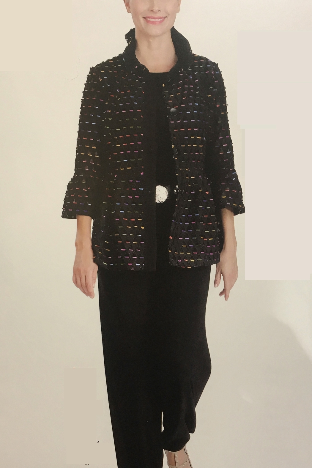 IC Collection Multi Color Laser Cut Jacket - Main Image