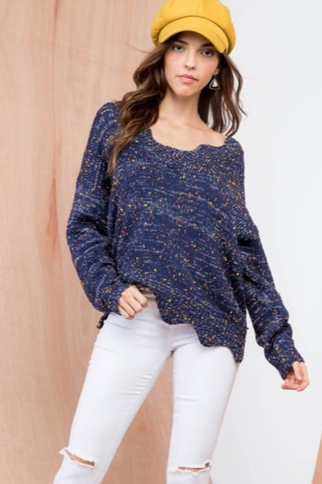 Top Style Multi Color Polka Dot V Neck Long Sleeve Scalloped Edge Sweater - Main Image