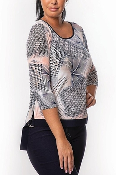 Bali Corp. Multi Color Print 3/4 Sleeve Top - Product List Image