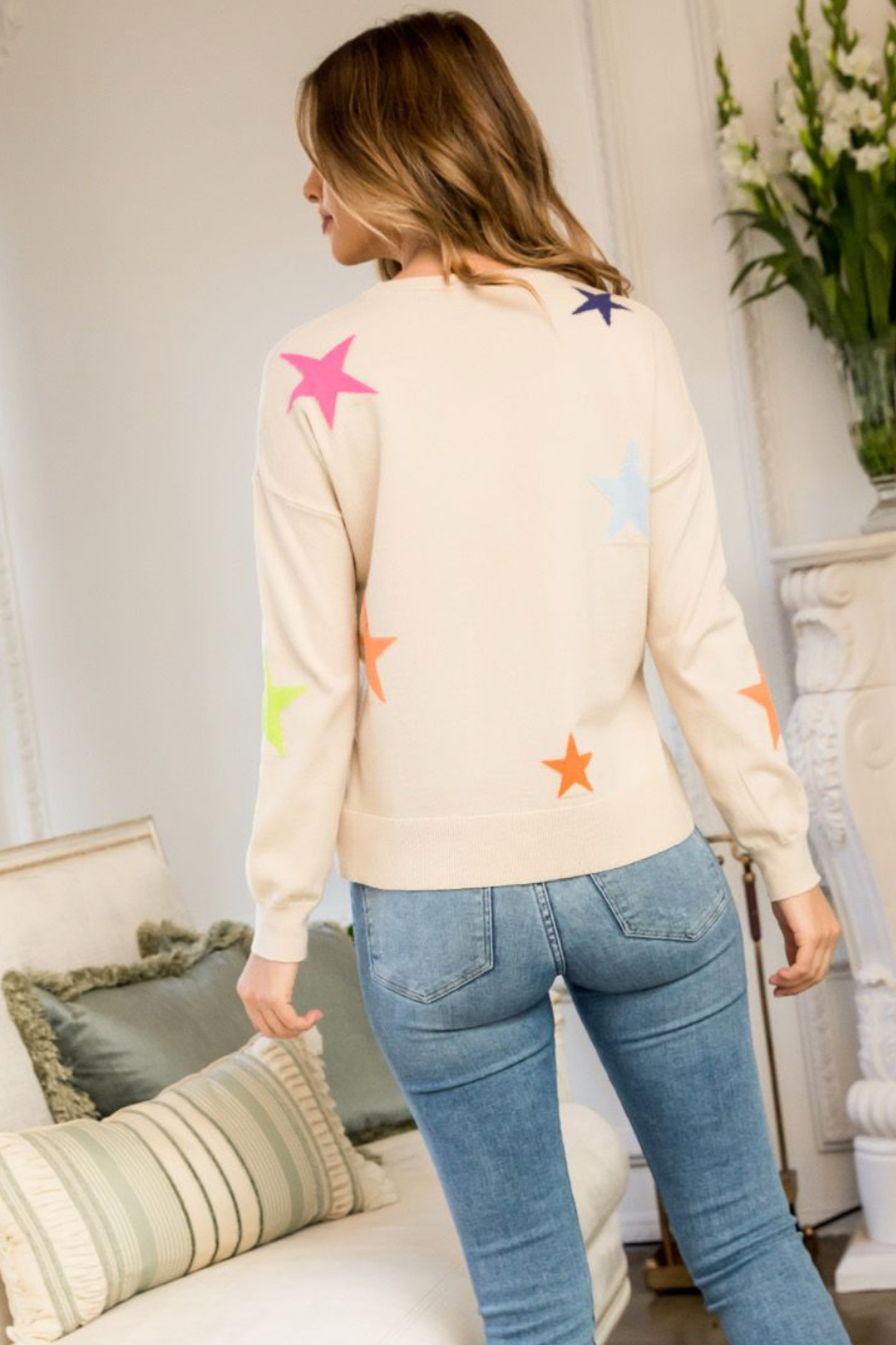 Thml Multi Color Star Sweater - Side Cropped Image