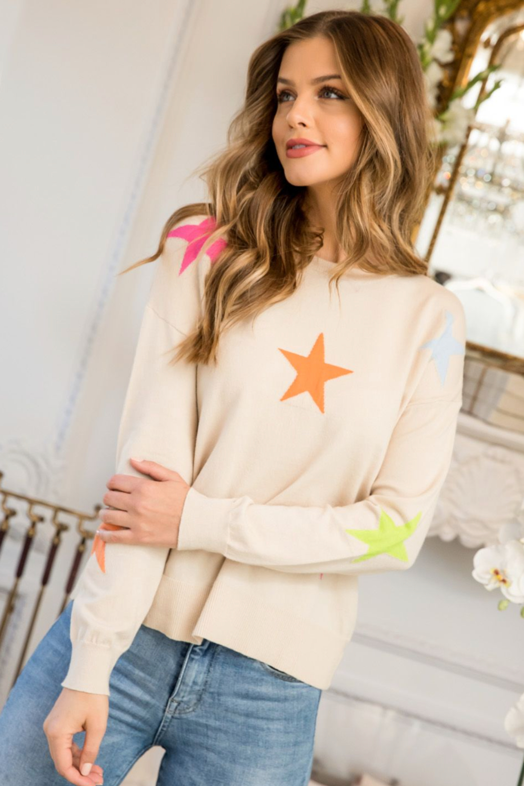 Thml Multi Color Star Sweater - Front Full Image