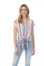 Charlie B. Multi Stripe Blouse with Tie - Product Mini Image