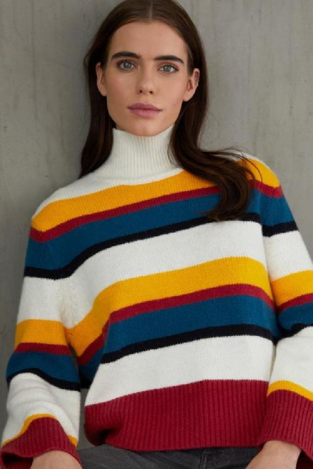 Autumn Cashmere Multi Color Stripe Mock - Front Cropped Image