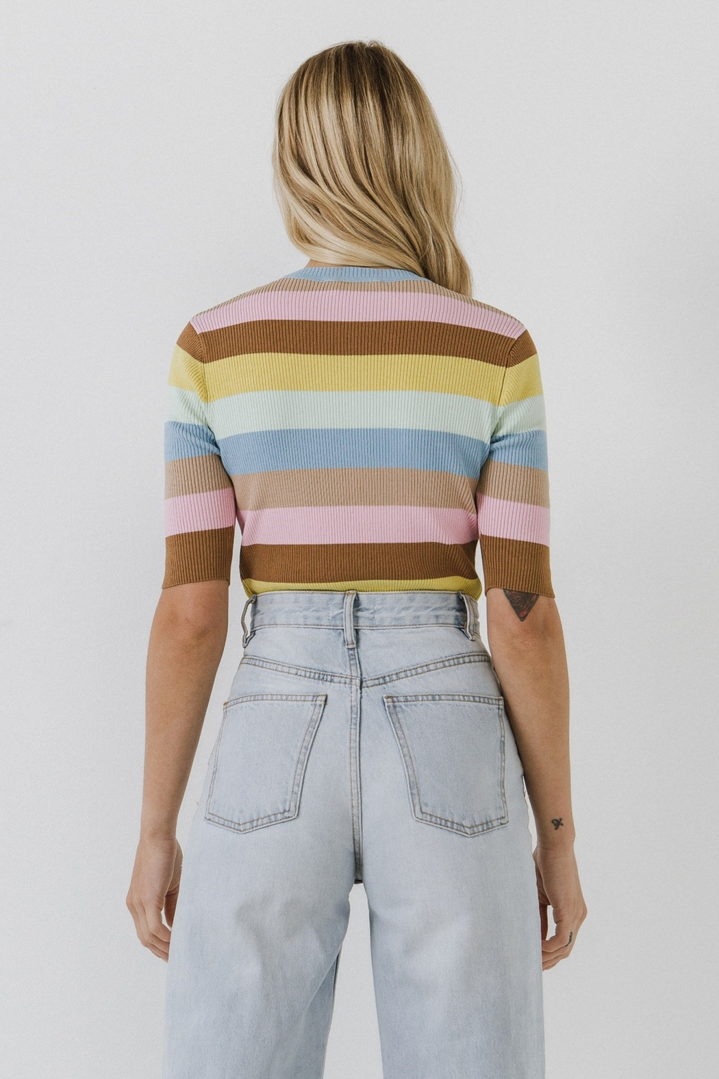 English Factory Multi Color Stripe Sweater - Side Cropped Image