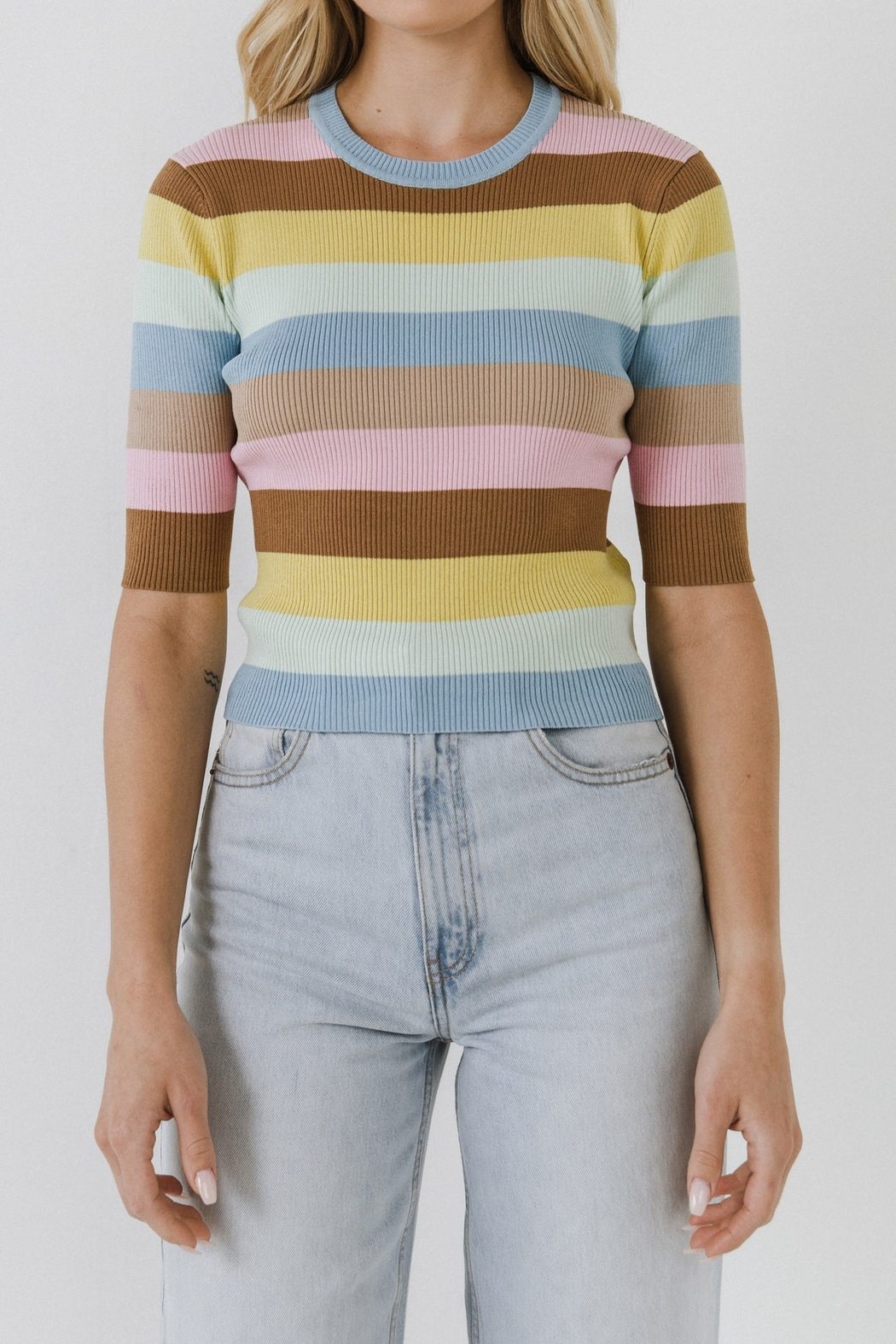 English Factory Multi Color Stripe Sweater - Front Full Image