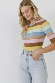 English Factory Multi Color Stripe Sweater - Front cropped