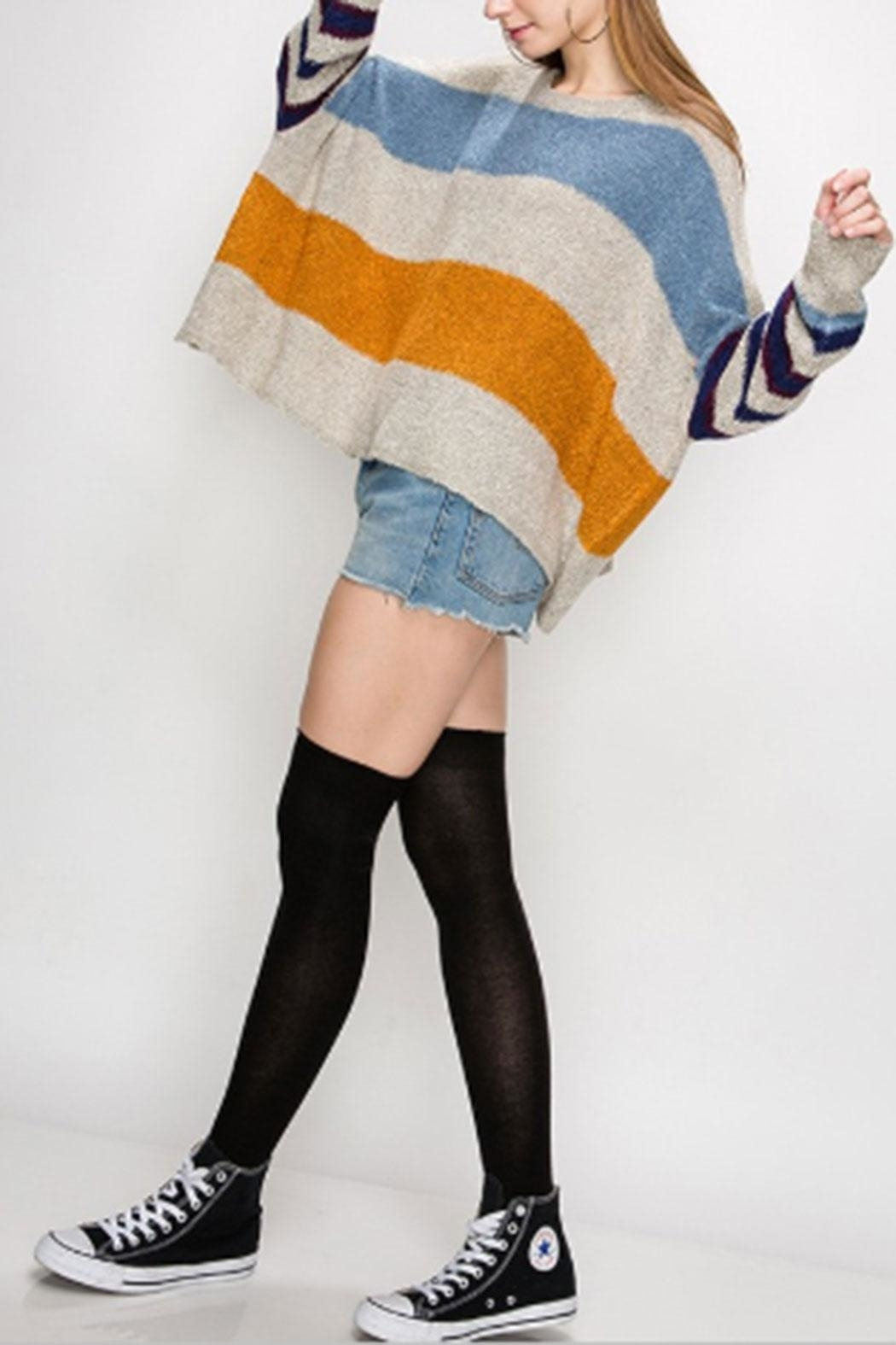 HYFVE Multi-Color Striped Sweater - Front Full Image