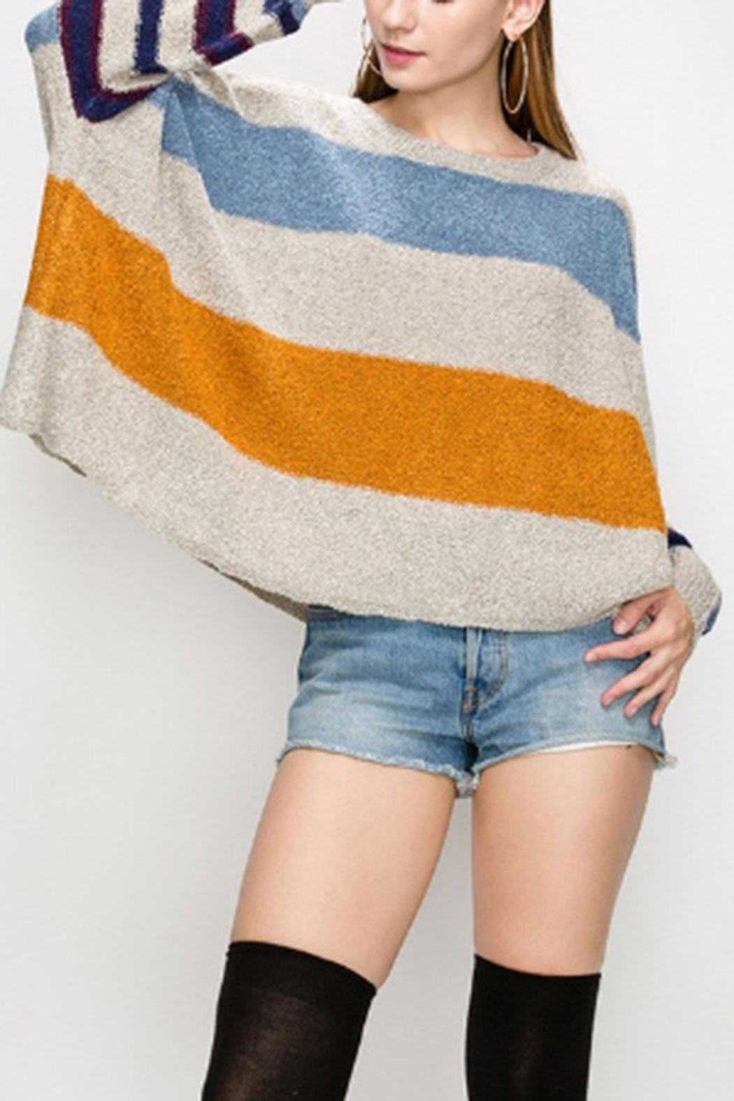 HYFVE Multi-Color Striped Sweater - Side Cropped Image