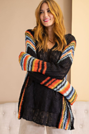 easel  Multi Color Sweater Knit Hoodie - Product Mini Image