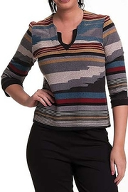 Bali Corp. Multi Color V Neck Sweater Top - Product Mini Image
