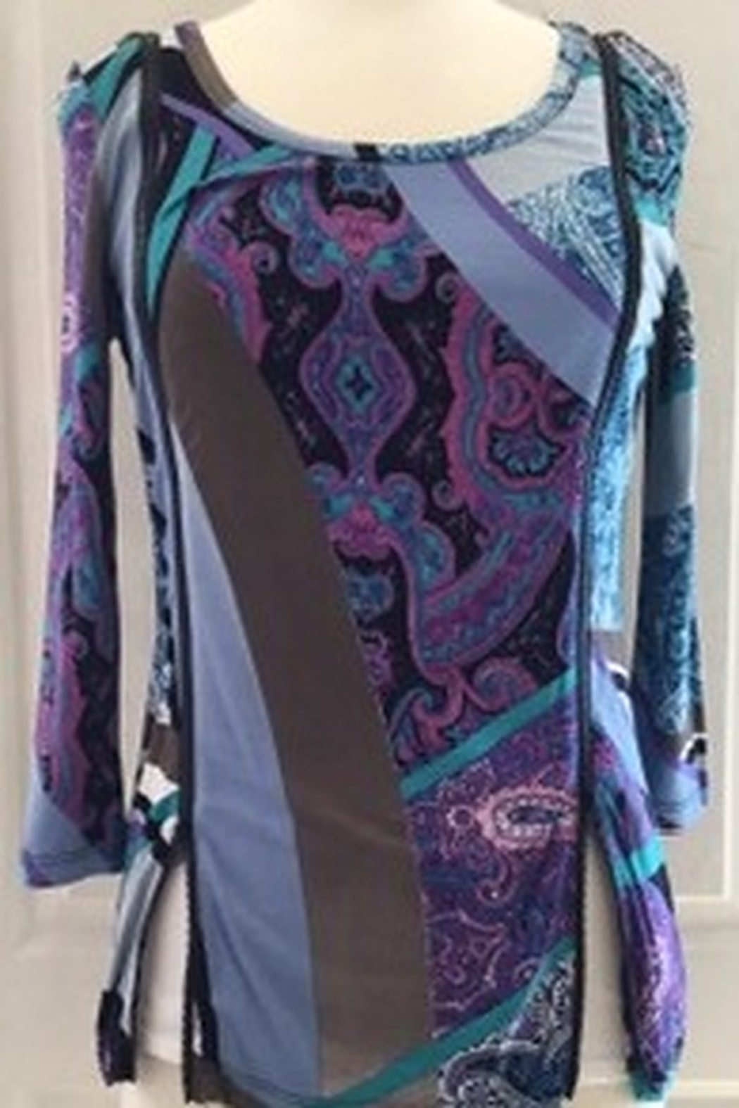 Lynn Ritchie Multi-colored blouse with zippers on side - Main Image