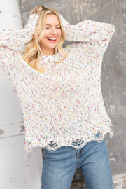 143 Story Multi Colored Dot Textured Sweater - Product Mini Image