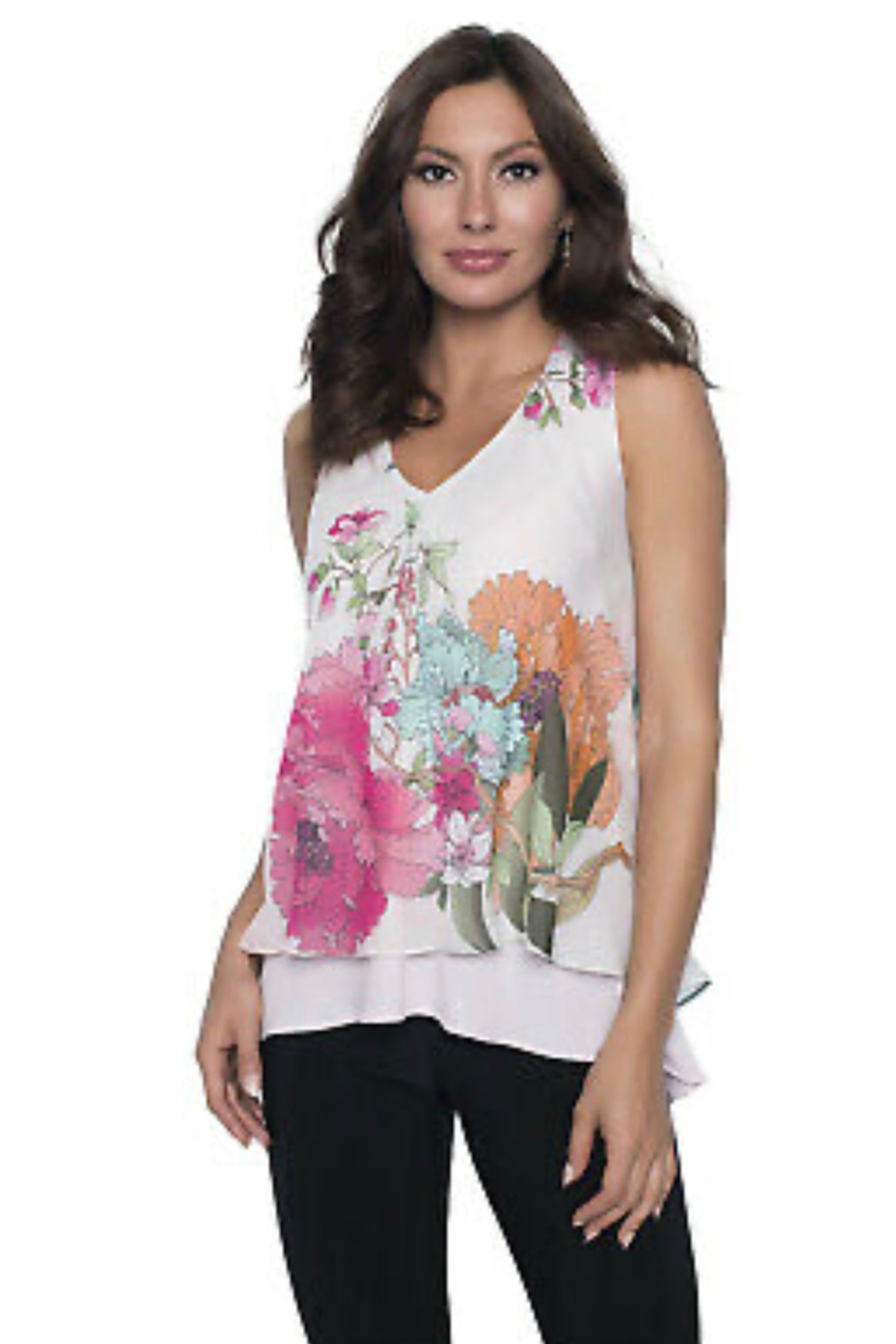 Frank Lyman multi colored floral chiffon top - Main Image