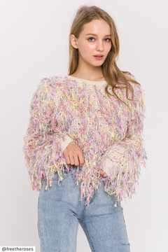 FREE THE ROSES Multi Colored Fringe Sweater - Alternate List Image